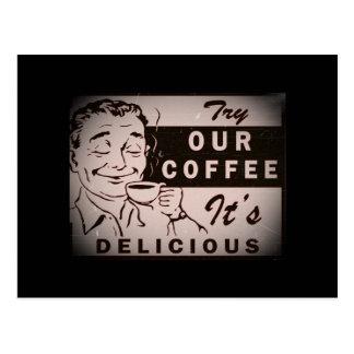 Retro Delicious Coffee Ad Postcard