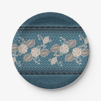 Retro Denim Texture with Lace 7 Inch Paper Plate