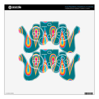 Retro Design on Sony PlayStation Controller Skin PS3 Controller Decals