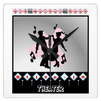 Retro design square wall clock