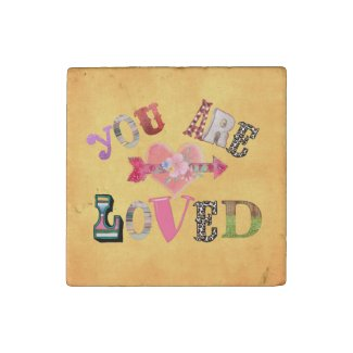 Retro Design: You are Loved Quote Stone Magnet