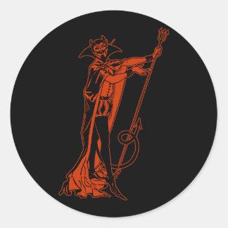 Retro Devil Classic Round Sticker