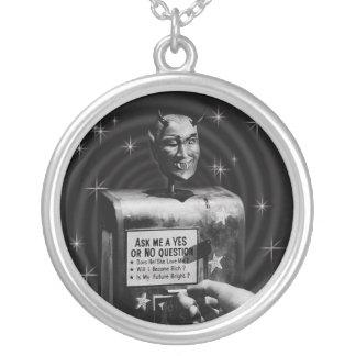 Retro Devil Question Box (vintage) Silver Plated Necklace