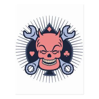 Retro Devil Skull Wrenches Postcard