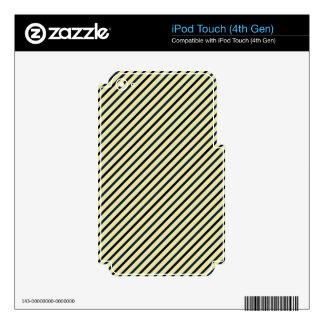 Retro Diagonal Stripes - Blue on Yellow iPod Touch 4G Decal
