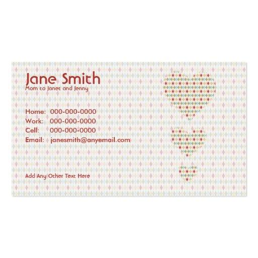 Retro Diamond Hearts Contact Card Business Card Template