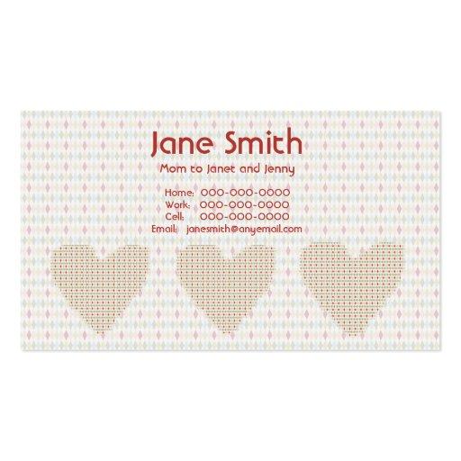 Retro Diamond Hearts Contact Card Business Card