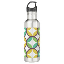 Retro Diamond in Circle Pattern Blue Green Gold Stainless Steel Water Bottle