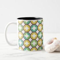 Retro Diamond in Circle Pattern Blue Green Gold Two-Tone Coffee Mug