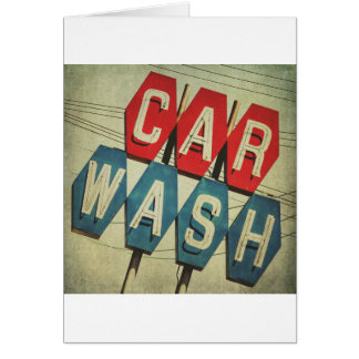 Retro Diamond Shaped Car Wash Sign Card
