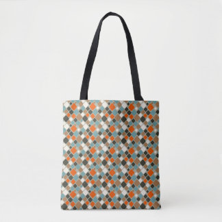 Retro Diamond Teal, Navy Blue and Orange Tote Bag