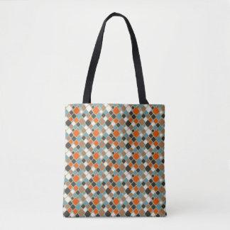 Retro Diamond Teal, Navy Blue and Orange Tote Bag