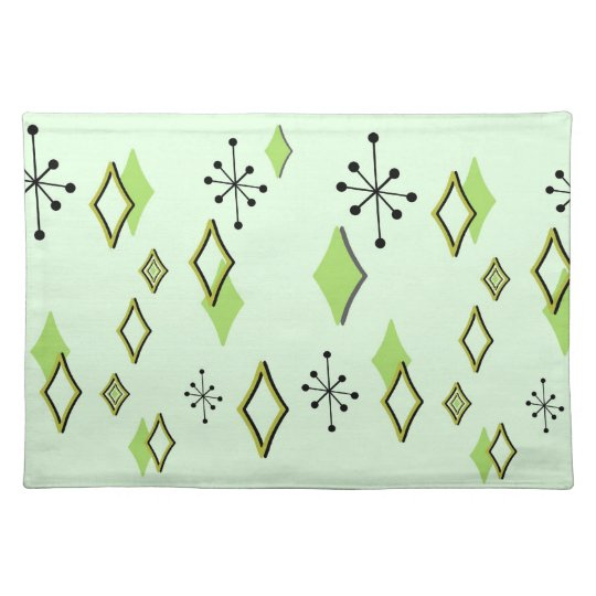 RETRO DIAMONDS & STARBURSTS: GREEN SCENE PLACEMAT