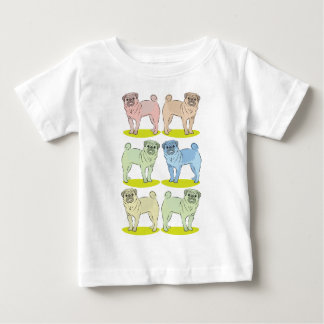 RETRO different coloured pug dogs Baby T-Shirt