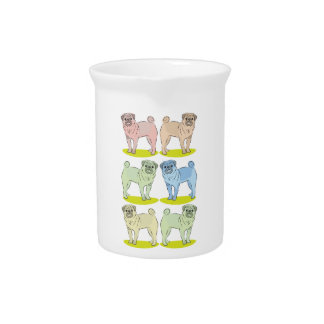 RETRO different coloured pug dogs Beverage Pitcher