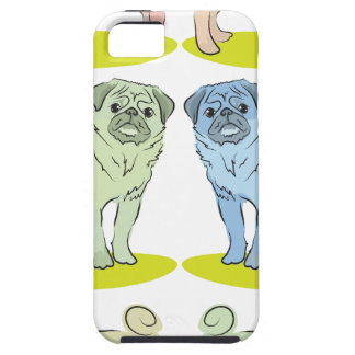 RETRO different coloured pug dogs iPhone 5 Cases