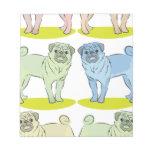 RETRO different coloured pug dogs Memo Note Pad