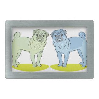 RETRO different coloured pug dogs Rectangular Belt Buckle