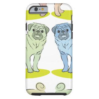 RETRO different coloured pug dogs Tough iPhone 6 Case