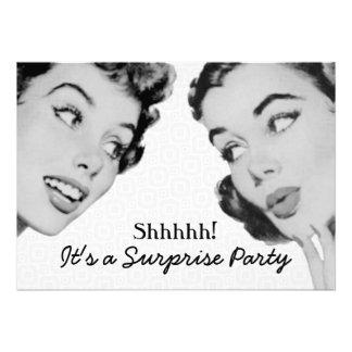 Retro diga a la fiesta de cumpleaños de la sorpres invitacion personalizada