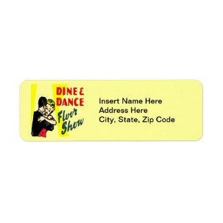 Retro Dine And Dance Return Address Label