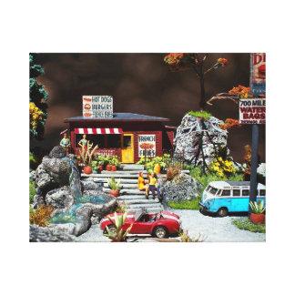 Retro Diner, 50's roadside miniature diner diorama Canvas Print