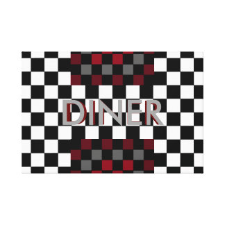 Retro Diner Art Canvas Black and White Red