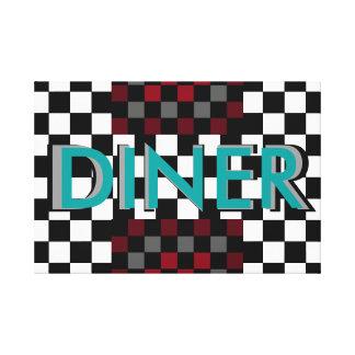 Retro Diner Art Canvas Checkerboard Wine Teal