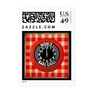 Retro Diner Clock Postage Stamp