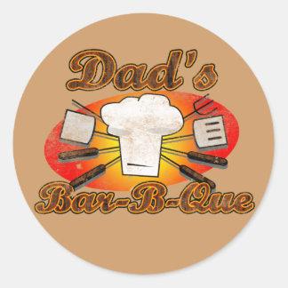 Retro Diner, Dad's Bar-B-Que BBQ Classic Round Sticker