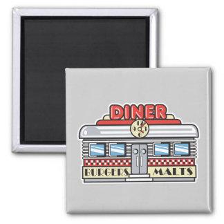 retro diner design 2 inch square magnet