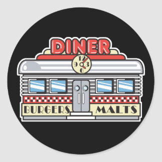 retro diner design classic round sticker