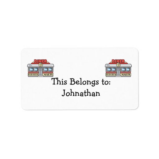 retro diner design custom address labels