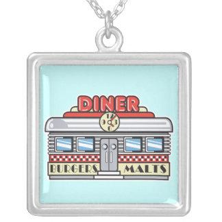 retro diner design square pendant necklace
