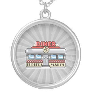 retro diner design round pendant necklace