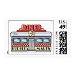 retro diner design postage