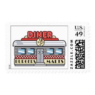 retro diner design postage stamps