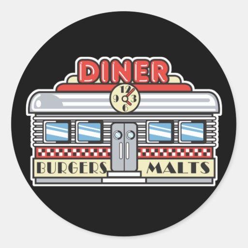 retro diner design round stickers
