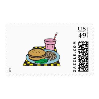 retro diner fast food meal postage stamps