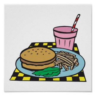 retro diner fast food meal poster