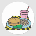 retro diner fast food meal round stickers