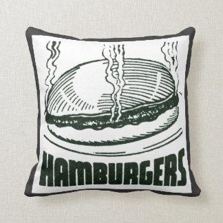 Retro Diner Hamburgers Throw Pillow
