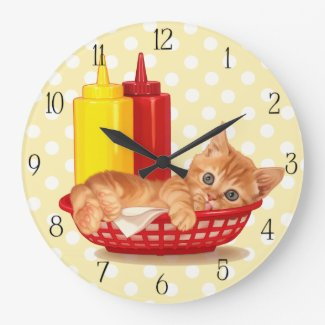 Retro diner hungry kitten large clock