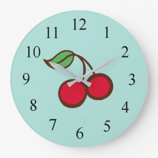 Retro Diner Kitchen Cherry Wall Clock