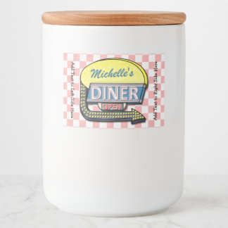 Retro Diner Sign 50s Pink Checkered Personalized Food Label