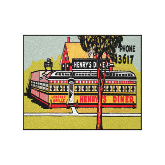 Retro Diner Simulated Oil Wrapped Canvas Print