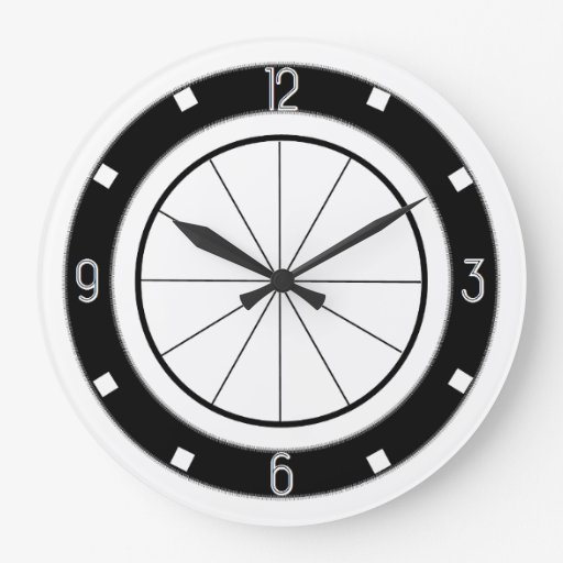 Retro diner style kitchen clock black and white zazzle - Black and white kitchen clock ...