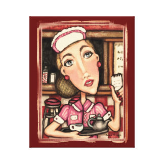 Retro Diner Waitress Canvas Gallery Wrapped Print Canvas Print