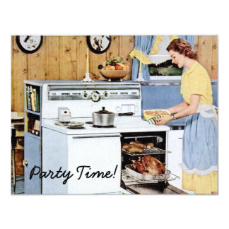 Retro Dinner Party 4.25x5.5 Paper Invitation Card