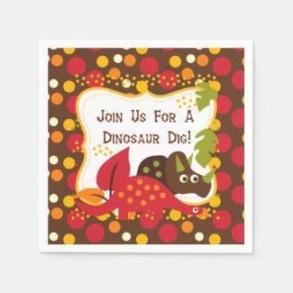Retro Dinosaur Dig Birthday Paper Napkins